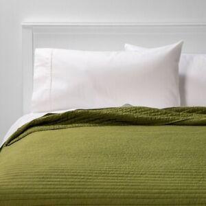 ROOM ESSENTIALS Garment Washed Microfiber Quilt | QUEEN | Olive | 🆕