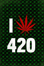 Marijuana I Love 420 Weed Pot Cannabis Joint Blunt Bong Leaf Pattern With Red Le