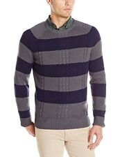 NWT Dickies Men's XXL Allover Rugby Stripe Crew Sweater Charcoal Indigo 2XL
