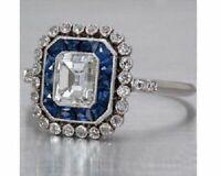 3Ct Emerald Retro Art Deco Sapphire Engagement Wedding Ring Solid 14K White Gold