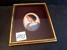 Porcelain Plaque, Hand Painted Portrait of Saint Cecelia 4 1/4 x 3 1/4, in Frame
