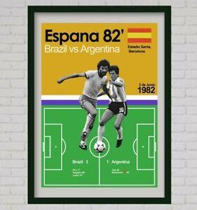 A3 poster print football brazil world cup mexico 86 spain 82 italia 90 retro