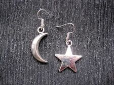 LARGE CHUNKY MISMATCH STAR and Crescent MOON SP Drop Earrings CELESTIAL