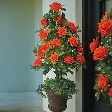 Outdoor Lighted Pre Lit Coral Rose Topiary Urn Filler Porch Greenery Faux Tree