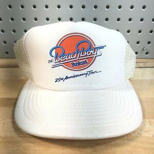 Vintage THE BEACH BOYS 25th Anniversary Tour Trucker Cap White Snapback RARE!
