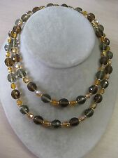 "Estate Costume Joan Rivers Orange Brown & Gray Bead Necklace 35"" Gold Tone"