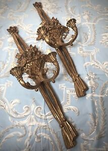 FRENCH CANDLE SCONCES, A GILDED PAIR. ROCOCO, LOUIS XVI STYLE.