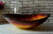 Victory Hand Paint Fire Color Tempered Glass Basin Sink With Pop Up Drain SF21G4