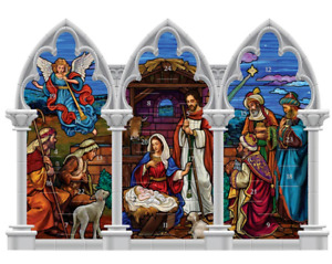 Triptych Standing Stained Glass Nativity Advent Calendar  with Doors NEW