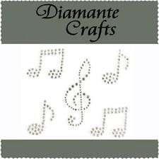 5 x Clear Diamante Music Notes Self Adhesive Rhinestone Craft Embellishment Gems