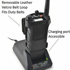 Motorola APX 8000 Carry Holder Case Turtleback, Black Leather Duty Belt Holster