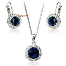 Blue Sapphire Made with Swarovski Crystal Round Drop Wedding Bridal Set N147XE87