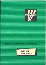 PRESSE WELGER AP61 & ap61d opérateurs manuel