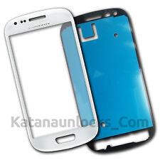 Vitre écran Samsung Galaxy S3 Mini SIII i8190 Blanc avec Adhésif Front Glass