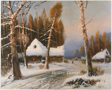 "20"" PRINT Winter Landscape by Klever ANTIQUE MUSEUM ART"