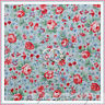 BonEful Fabric FQ Cotton Quilt VTG Blue Pink Rose Flower Calico S Dot Green Leaf