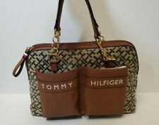 Tommy Hilfiger NWT Satchel Handbag Brown Logo Print Gold hardware Pockets Purse