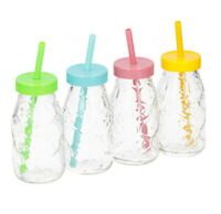 Retro Milk Bottle Drinking Glass Set of 4 220ml WITH Reusable Straws & Lids