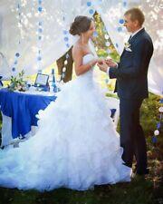 Organza Ruffle Strapless Wedding Dress Bridal Gown Custom Size 6 8 10 12 14 16+