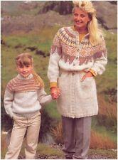 Child's Striped Sweater Lady's Fair Isle Yoke Coat Chunky Knitting Pattern 10031