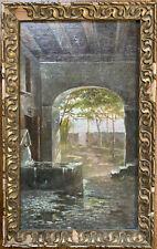 Tableau Impressionnisme Paysage au Lavoir Peinture début XXème Initiales G.M ?