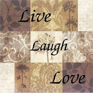 LIVE LAUGH LOVE BROWN  IMAGE FABRIC/RUBBER BACK COASTERS SETS U PICK SET