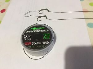 5x Blowback carp hair rigs Korda hooks and Korda Hybrid stiff braid