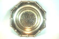 Viners Silverplate Dish Floral Embossed Round Bowl Bon Bon Plate Vintage Genuine
