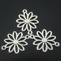 50pcs Antique Style Silver Tone Alloy Flower Hollow Connector Charms 19mm