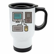 Geek Travel Mug - Desktop Pc Monitor Keyboard Mouse - Thermal - White Stainless