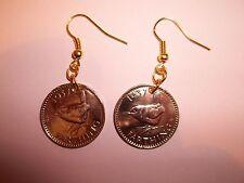 WREN FARTHING COIN DROP EAR RINGS - 1947 - 71st BIRTHDAY