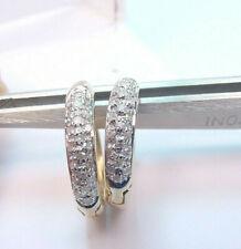 HUGGIE HOOP HINGED DESIGN NATURAL DIAMONDS .20 TCW 14K GOLD EARRINGS  3.4 GRAMS