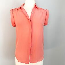 Madewell Blouse Top Sz XS 100% Silk Roll-Sleeve Top Solid Coral Pink Collar S/S