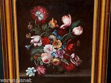 OLIO DIPINTO ANTICO doubeliert fasto natura morta PLATINI Farfalla painting