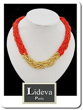 Necklace Statement Chain Beads Glass Korallenperlen Geflochtene Choker Blogger