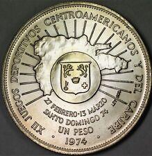 1974 Domician Republic Un Peso Juegos Brilliant Uncirculated Silver Coin