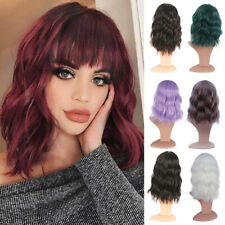 Short Wavy Curly Hair Bob Wigs With Bangs Synthetic Wig For Women Cosplay Party