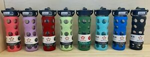 Lifefactory BPA Free 16 oz Glass Water Bottle Silicone Grip w/ Straw Sports Yoga