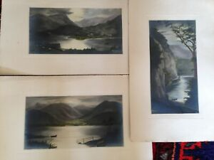 3 Antique Watercolours Of Ullswater Lake District 1920s