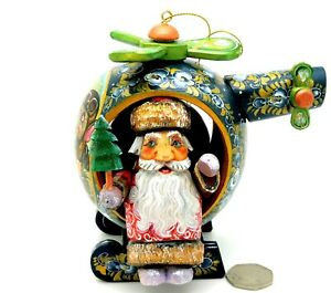Father FROST Santa Helicopter Christmas UNIQUE HAND PAINTED FIGURE Russian Doll