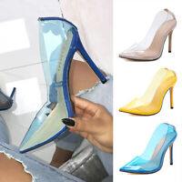 Ladies Women Perspex Clearly Stiletto High Heel Shoes Sexy Point-Toe Party Pumps