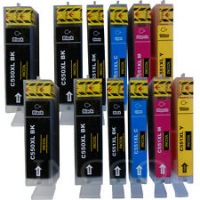 12 Replacements for Canon PGI-550 / CLI-551 XL HIGH YIELD printer ink cartridges