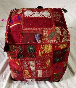 """Indian Poufs Cover Handmade Cotton Ottoman Footstool Patchwork 22X22X22"""" Inches"""