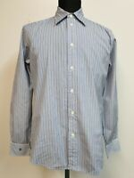 MENS RALPH LAUREN BLUE WHITE STRIPED SLIM FIT L/SLEEVE SHIRT UK M EU 48