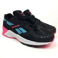 Reebok Mens Size 7 Aztrek Shoes Black/Solar Pink/Blue/WhiteDV8953 NWOB