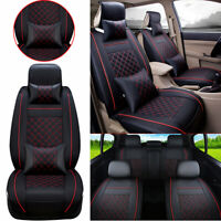 Fly5D PU Leather Car Seat Cover 5-Seat Front & Rear SUV Cushions Set W/Pillows