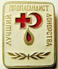Best Blood Donation Propagandist Red Cross 1970-s USSR Award Metal Pin Badge