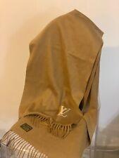 Louis Vuitton 100% Cashmere Scarf Monogram Initial Beige/Camel