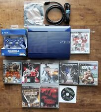 PLAYSTATION PS3 Super Slim AZURITE BLUE Console + NEW BLUE Controller + Games