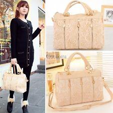 Korean Fashion Women Lace Handbag PU Leather Messenger Tote Shoulder Bag CO99